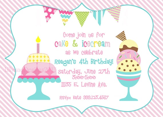 Cake and Ice Cream Birthday Party Invitation Digital File – Ice Cream Party Invites