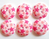 15pcs Cute Star Printed Retro Button Size 23 mm Light Pink (pink star)