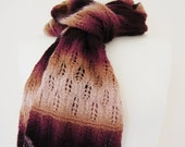 Plum Lacy Ombre Handknitted Scarf