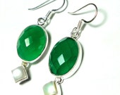 Emerald Green Onyx Oval and Pearl Earrings Set in Sterling