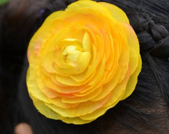 Large Bright Ranunclulus Silk Bloom Several Colors Hair Clip or Pin Backing