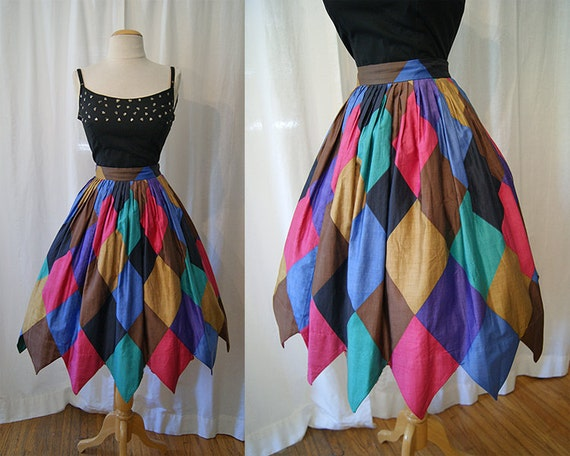 Festive 1950's / 1960's full skirt with multi-color harlequin print with handkerchief hem vlv rockabilly summer party - size Medium