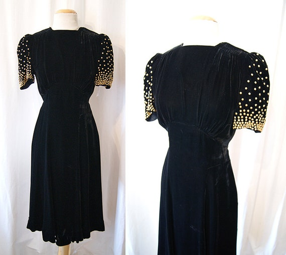 Dazzling  1940's black velvet with gold studs Old Hollywood  cocktail party dress WW2 holiday glamour - size Small