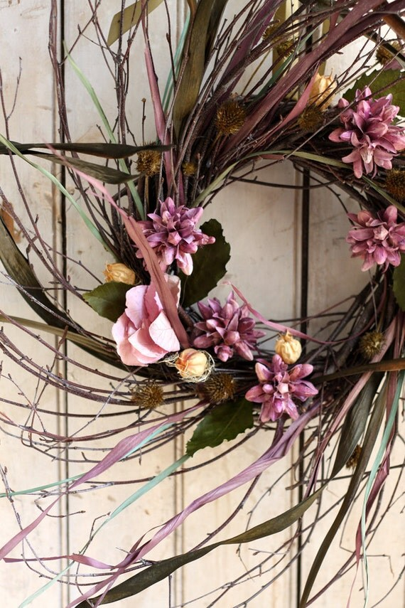 Autumn Wreath - Fall Decor - Twiggy Wreath - Dried Flower Wreath - Violet - Green - Year Round Wreath - READY TO SHIP