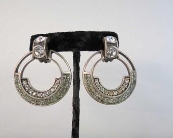 RETRO 80's Bijoux Design New York Rhinestone Hoop Earrings Free Shipping