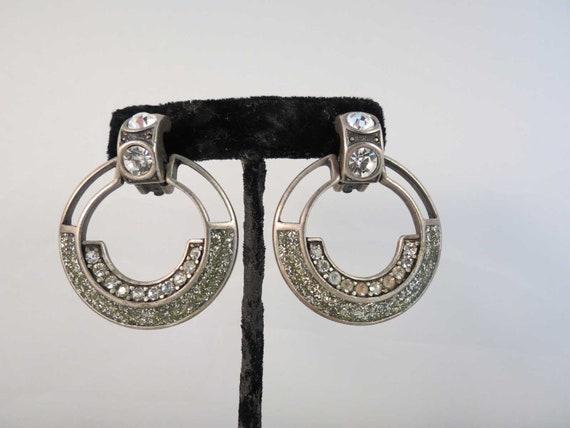 80 s bijoux design deco style new york rhinestone hoop