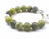 Green opal round beads bracelet Chartreuse tender shoots