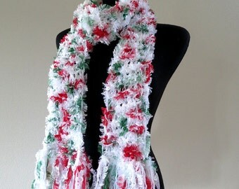 FREE US SHIPPING - White Green Red Color Knitted Fringed Long  Fuzzy Scarf with Fringes