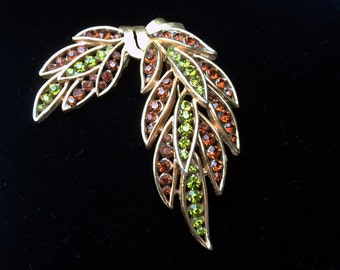 Crown Trifari Topaz and Olivine Rhinestone Swag Brooch