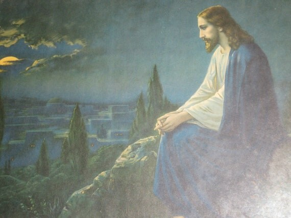 antique jesus picture garden  gethsemane carved wood frame