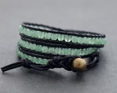 Jade Black Leather Wrap Bracelet