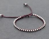Burgundy Knotted Silver Unisex Adjustable Bracelet