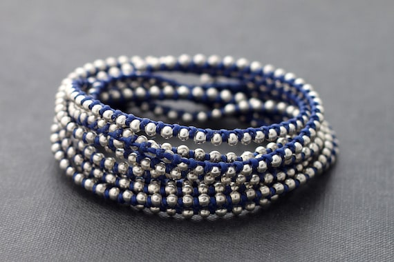 Blue Silver Beaded Wrap Bracelet