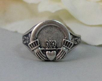 Irish Love,Ring,Claddaugh,Silver Ring,Claddaugh Ring,Irish,Lucky,Love,Engagement Ring.Handmade jewelery by valleygirldesigns.