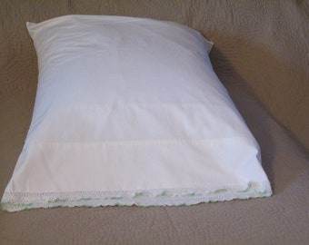Vintage White Pillowcase with White and Pale Green Crochet Trim
