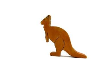 wooden waldorf toys, kangaroo wooden toy, wood animal toy, waldorf toys, kangaroo figurine