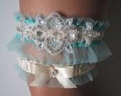 Aqua Blue WEDDING Garter Set, Light Teal Garters, Something Blue Wedding Garters w/ Crystals & Rhinestones, Ivory Bridal Garters