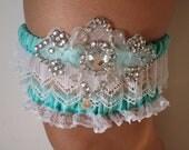 Aqua Blue Garter, Wedding Garter Set, Bling Bridal Garters with White Lace, Something Blue, Mint / Turquoise Garter, Beach Wedding