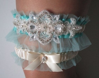Aqua Blue WEDDING Garter Set, Light Teal Garters, Something Blue Wedding Garters w/ Crystals & Rhinestones, Ivory Bridal Garters