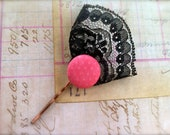 Single Pink Polka Dot and Black Lace Hair Bobby Pins / Accessories