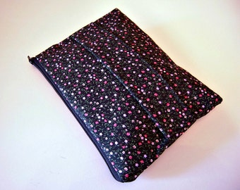 Floral Clutch in Black with Front Handle