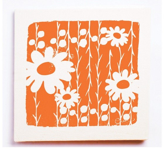 Orange Daisy Wall Art, Silk screened print stretched cotton bark cloth on wooden frame, 19x19 inch