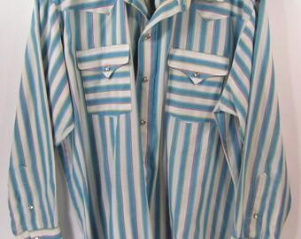 vintage western shirt mens large panhandle slim white blue striped cowboy rockabilly 17 x 34