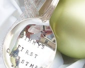 Vintage Silverplate Spoon Ornament - Personalized First Christmas- Blithe Vintage Etsy