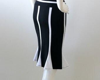SALE, Black and white pencil skirt, Plus size skirt, Size XL, Pencil Skirt XL, Ready to ship, Jersey skirt, Black skirt, Knee length skirt