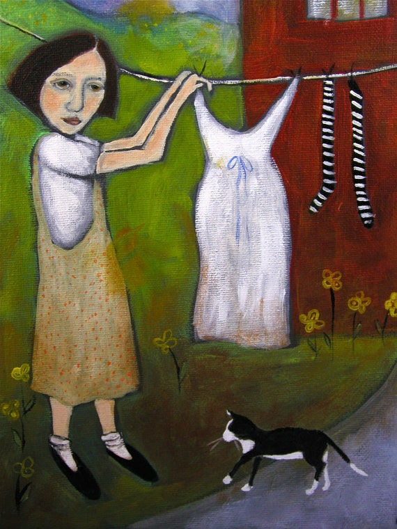 Contemporary Folk Art painting portrait acrylic on canvas woman and cat hanging laundry