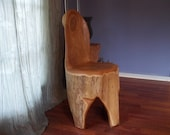 RUSTIC Modern Catalpa Wood Sculpted Log CHAIR Free Form Live Edge 1 piece Functional Art