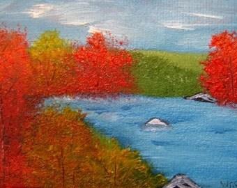 ACEO Original Fall Painting Art