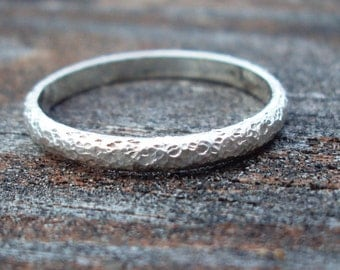 Jewelry, ring, Sterling silver, stardust, textured ring band, 1/8 inch wide, stacking, detailed, in style, any size