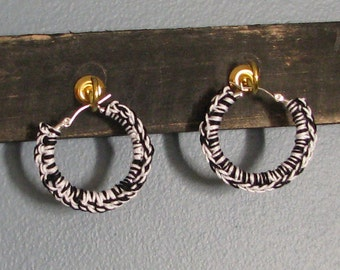 Black & White Crochet Hoop Earrings