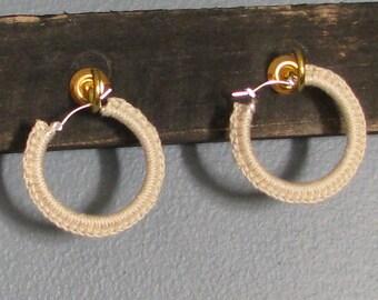 Natural Crochet Hoop Earrings