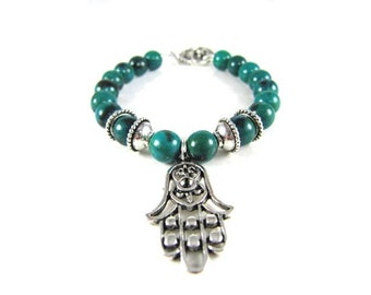 Natural Green Azurite Spiritual Beaded Bracelet with Hamsa Hand-Protector