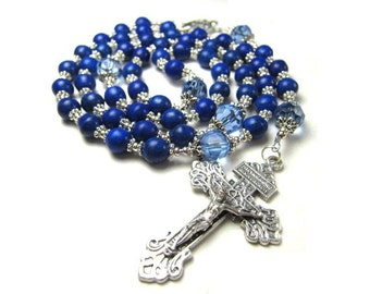 Navy Blue Rosary Beads in Lapis Turquoise Gemstone and Blue Crystals