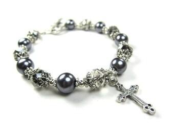 Grey Pearl and Crystal Beaded Cross Bracelet, Handmade