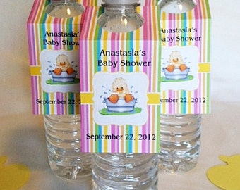 25- Baby Shower Water Bottle Tags- Duck