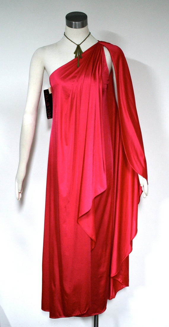 Vintage HALSTON Gown Iconic One Shoulder Grecian by StatedStyle