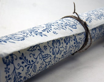 Handmade Wrapping Paper Gift Wrap 3 sheets Blue Garden flower print