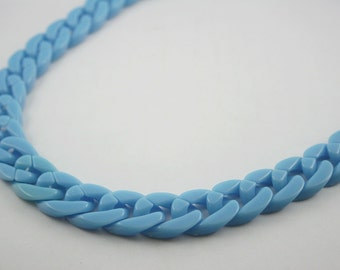 30 inch. Blue Chunky Chain Plastic Link Necklace Craft DIY Decorations Findings. (Flat) C12