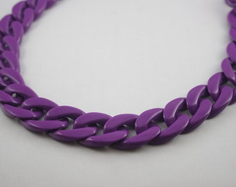 30 inch Purple Chunky Chain Plastic Link Necklace Craft DIY Decorations Findings (Flat) (Big Size) CB8