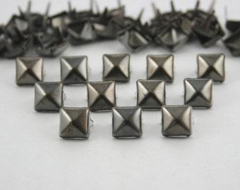 100 pcs. Gunmetal Pyramid Studs Punk Rock 9 mm. KSPGun9