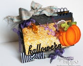 ONE of A KIND - Mixed Media Halloween Scrapbook Book - Ready for Photos