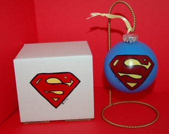 Superman Christmas Ornament Gift Set Hand Painted Glass and Gift Box