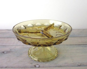 Gold Glass Footed Divided Dish Pedstal