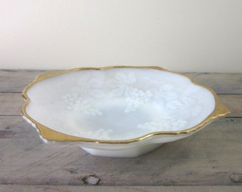 Milk Glass Fruit Bowl in Grape Pattern with Gold Trim