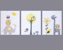 Printable Nursery Art, Kids Wall Art, Gray and Yellow, Nursery Wall Art, Tree, Owl, Giraffe, Georgia's Room, Set of 3, INSTANT DOWNLOAD