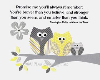 Owl Nursery Art Decor,Gray Yellow Nursery, Kids Wall Art, Neutral Colors, Verse, Promise Me You'll Always Remember, 8x10 Print